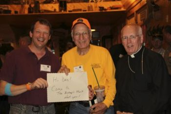Dr. Flaherty, Al Kurtenbach and Bishop Swain have a message for one missing hunter.