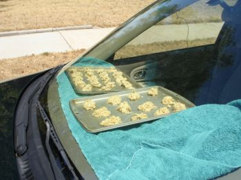 Cookie dough on a car dash starts cooking in Yankton's summer heat.