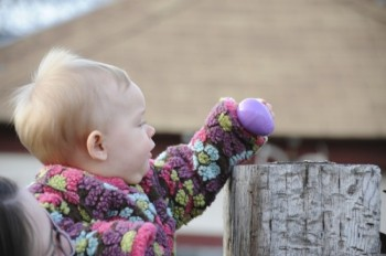 Even the very young enjoy the thrill of the Easter egg hunt. Photo by Bernie Hunhoff.