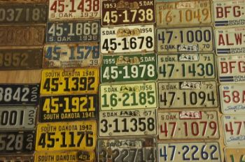 A collection of license plates in Eureka. Can you figure out which counties are represented? Photo by Bernie Hunhoff.