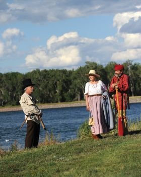 Wagon trains and pageantry will be part of Fort Pierre's bicentennial celebrations, thanks to local re-enactors like (from left) history writer Bill Markley, Kristi Vensand-Hall and Terry Hall