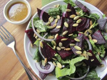 In winter, replace juicy garden tomatoes with beets in your romaine salad.