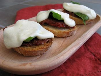 Mozzarella s'mores are a savory appetizer perfect for fire pits and patio parties.
