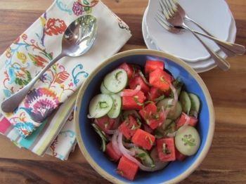 Fresh, bright and cool, this watermelon-cucumber concoction makes a great summer salad. Photo by Fran Hill.