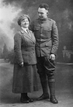 Grace Balloch became a foster mother to Walter Hoeppner in Chicago after his mother died. The two reunited in France in 1919 while Hoeppner served as a medic in World War I.