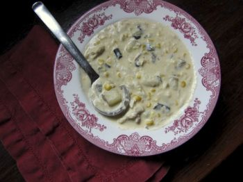 Hearty poblano and corn crab chowder eases the transition from summer to fall. Photo by Fran Hill.