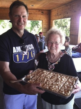 Bernie, Emma Lou and the rhubarb torte at the 2011 Hunhoff picnic.