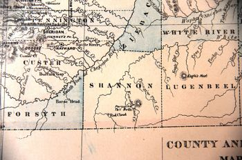 Shannon County appears on an 1882 map of Dakota Territory.