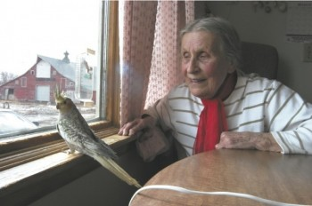 Katharina Redlin, pictured here with one of the cockatiels she raised and sold, found a peaceful life waiting for her in Summit.