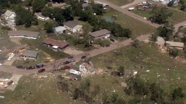 A tornado devastated Wessington Springs on June 18, 2014. KELOLAND News photo.