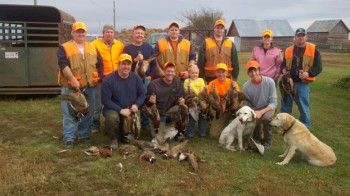 Watertown attorney (and writer) Lee Schoenbeck's family and friends gathered for a photo after Saturday's hunt.