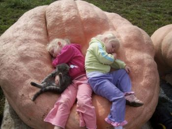 Kevin Marsh's daughters, Maddie and Autumn, nap in one of their father's giant pumpkins. Photo by Kevin Marsh of Parker, SD.