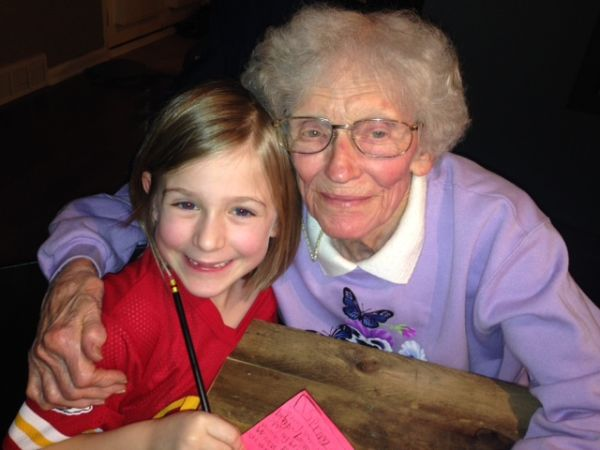 Margaret Hunhoff, with her great-granddaughter Laura — a seven-year-old poet.