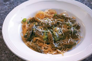 Johnson used her harvest in a light citrus mushroom pasta.