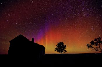 Halverson photographed the Aurora borealis south of Kennebec on a fall evening.