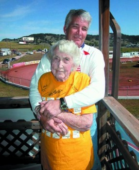 Pearl Hoel hosted up to two dozen motorcyclists in her home and garage during Rally Week. Her son, Jack, sometimes accompanied her to the race track in Sturgis.