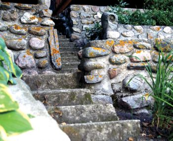 Alfred Miotke, Sr., Tony Miotke and Gus Schultz used native fieldstone to build a staircase in 1938. Local fields are rich with rocks thanks to two huge glaciers that deposited them eons ago.