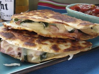 Give thanks for Thanksgiving leftovers with cheesy turkey quesadillas with roasted chiles and flavorful ham. Photo by Fran Hill.