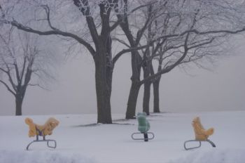 Playground animals in Yankton's Riverside Park are no help when it comes to weather prediction. Photo by Bernie Hunhoff.