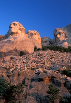 Viewed from the 'hot tub terrace,' the faces on Mount Rushmore take on a monumental grandness.