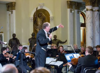 Music Director Delta David Gier conducts the South Dakota Symphony Orchestra.