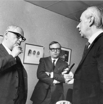 Cacavas confers with Ira Gershwin (left) and Morton Gould (right) in 1966.