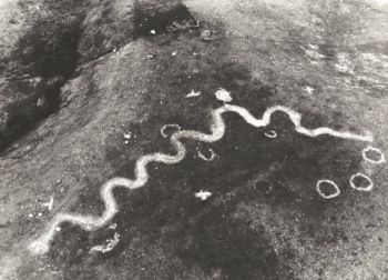 The outline of the stone serpent on Snake Butte was made clearer with a dusting of flour for this photo taken by the South Dakota Archaeological Society.