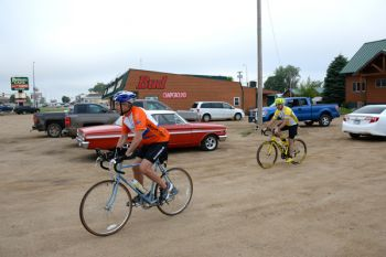 Schoenbeck and Deutsch depart for the final leg of this spring's RASDAK, a 65-mile jaunt from Webster to Milbank.