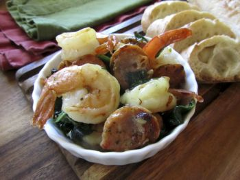 Use Shrimp Scampi and Chicken Sausage with Spinach as a party appetizer or toss it with pasta for a complete meal. Photo by Fran Hill.