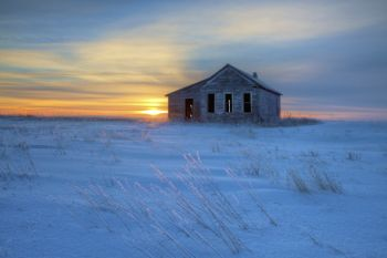 An abandoned country schoolhouse in rural Stanley County.
