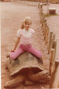 Years ago, Methuselah and the other giant tortoises gave rides to young visitors like Martha Surma Henris. Photo by Stu Surma.
