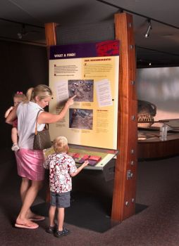 There are nine hands-on stations to learn about Sue's eyesight, movement and sense of smell. Interactive pod 1, 'What a Find.' © The Field Museum