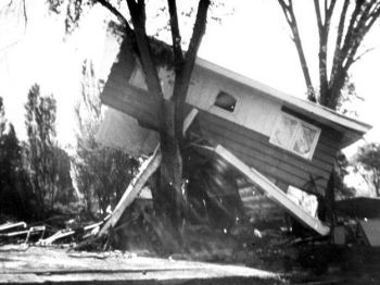 This photo by Keith Johnson shows one of the 770 homes destroyed by the 1972 flood. Photo courtesy of the Rapid City Public Library.