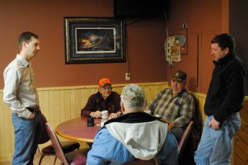 One lesson learned in the South Dakota primary &mdash;&nbsp;meeting voters matters. Here, Matt Varilek visits with residents of Groton. Photo from <a href='http://www.flickr.com/photos/63874729@N06/' target='_blank'>Matt Varilek for South Dakota</a>.