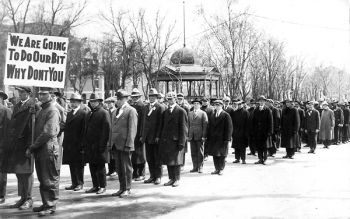 Men in Watertown turned out in droves to volunteer their services after the United States entered World War I in 1917.