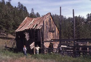 The 18 buildings at the ranch were constructed out of local pine.