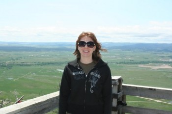 Rebecca Johnson at the summit of Bear Butte on a hike in 2009.