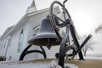 Frost on the church bell outside of Ben Clare Methodist in eastern Minnehaha County.