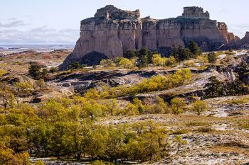The Castles area of the Slim Buttes near Reva with snow and fall colors.