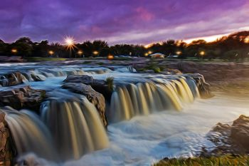 The falls of the Big Sioux River.