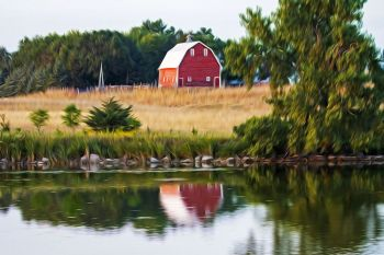 A barn reflected in rural Moody County.