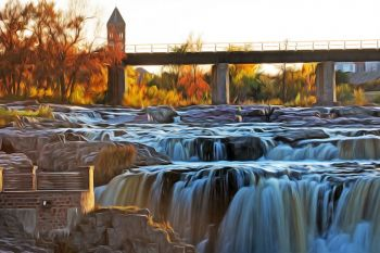 Autumn at the falls of the Big Sioux in downtown Sioux Falls.