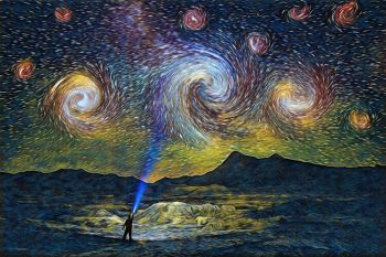 An homage to Van Gogh's 'The Starry Night.' Created from an image originally photographed near Sheep Mountain Table in the Badlands in late June.