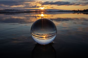 The lens ball and sunset shot with a wide-angle lens.