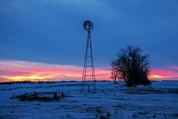 A late winter, country sunset in rural Lake County.