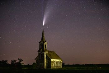 Comet NEOWISE above an abandoned church found in Roberts County just after midnight on July 19.