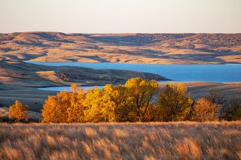 First light on an autumn scene featuring Lake Oahe and the Missouri River hills in Campbell County.