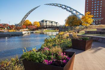 The Arc of Dreams with autumn accents in downtown Sioux Falls.
