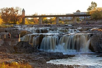 The Falls of the Big Sioux in autumn's evening light.