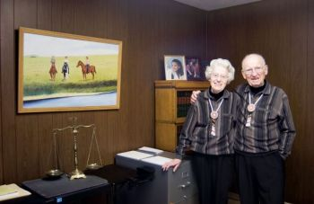 Fred and Luella Cozad are easily recognizable because they are almost always together, and they dress alike on most days.